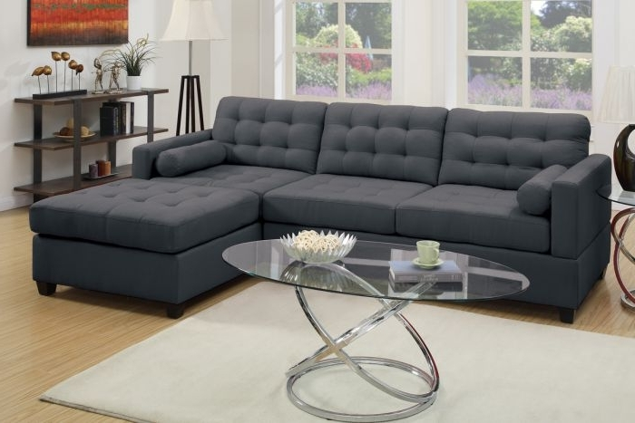 Reversible Chaise Sofas Regarding Newest Poundex F7587 2 Pc Slate Black Polyfiber Reversible Chaise Sectional (View 9 of 15)