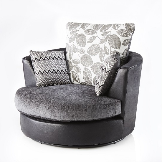 Revive Swivel Sofa Chair In Black Pu And Grey Fabric 28029 For Best And Newest Swivel Sofa Chairs (View 7 of 10)
