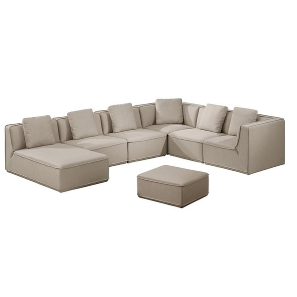 Roanoke Classic Beige Fabric Upholstered 5 Piece Modular Sectional In Well Liked Roanoke Va Sectional Sofas (View 8 of 10)