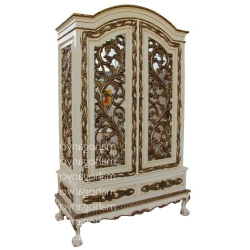 Rococo Heavy Carved Wardrobe Painted Antique Cream With Gold Intended For Most Up To Date Rococo Wardrobes (View 4 of 15)