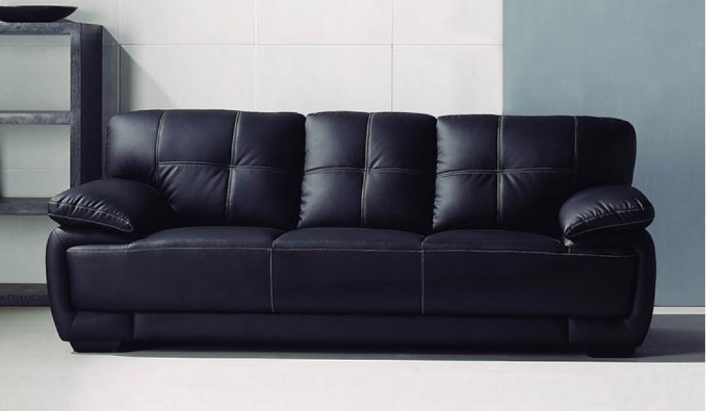Romeo 3 Seater Black Leather Sofa – Classic Comfort – Delux Deco With Regard To Widely Used 3 Seater Leather Sofas (View 2 of 10)