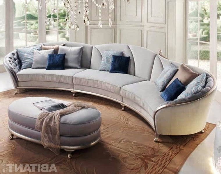 Round Sectional Sofas Inside Most Current Round And Curved Sofa With Original Accent Furniture Kerala Home (View 6 of 10)