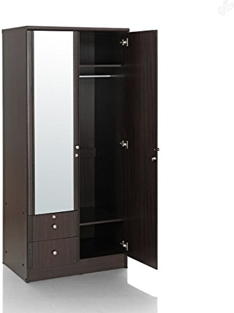Royal Oak Berlin Double Door Wardrobe With Mirror (Dark Finish With Trendy One Door Wardrobes With Mirror (View 12 of 15)