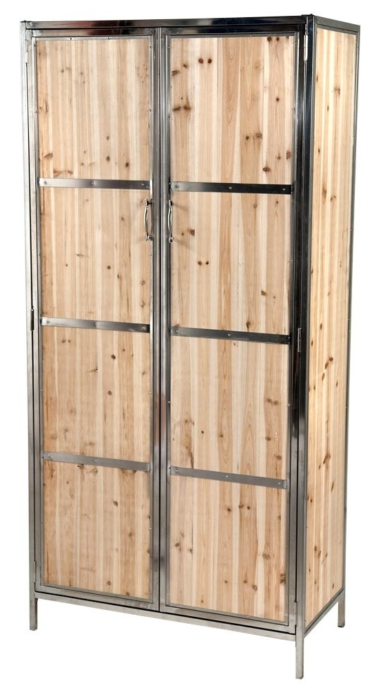 Rustic Industrial Style Wood Panel Armoire Wardrobe – Forever With Well Known Industrial Style Wardrobes (View 13 of 15)