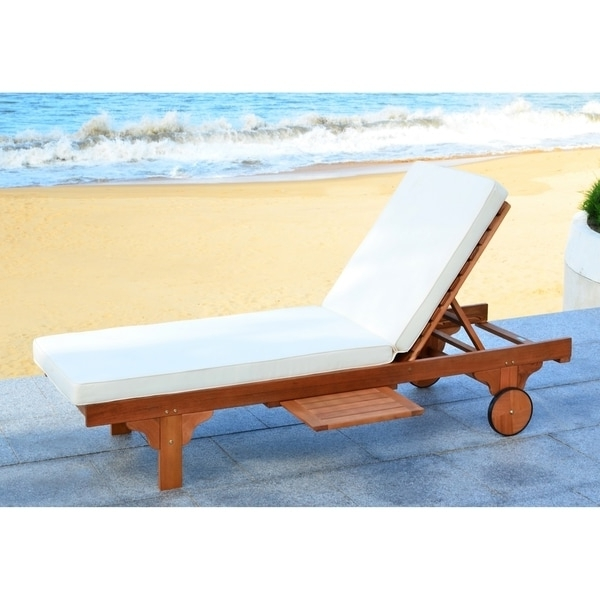 Safavieh Outdoor Living Newport Brown/ Beige Adjustable Chaise Within 2018 Yellow Chaise Lounge Chairs (View 11 of 15)