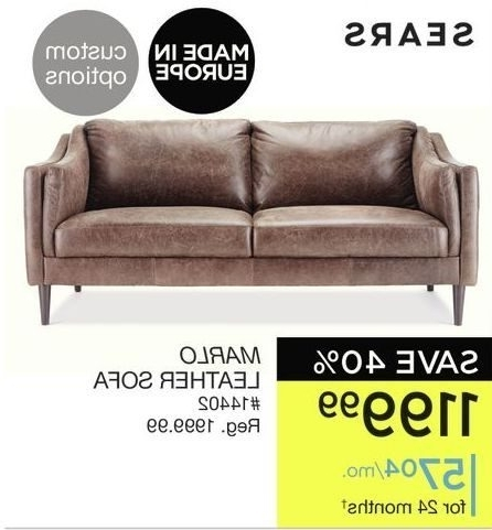 Sears Marlo Leather Sofa Redflagdeals Com With Prepare 2 Throughout Most Up To Date Sears Sofas (View 7 of 10)