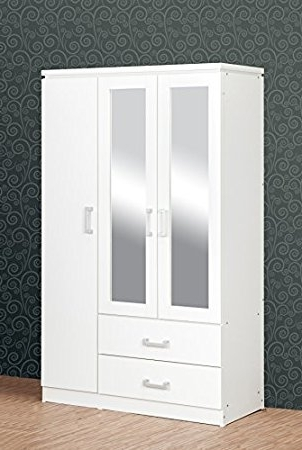 Seconique Charles 3 Door 2 Drawer Mirrored Wardrobe In White For Latest White Wardrobes With Drawers (View 10 of 15)