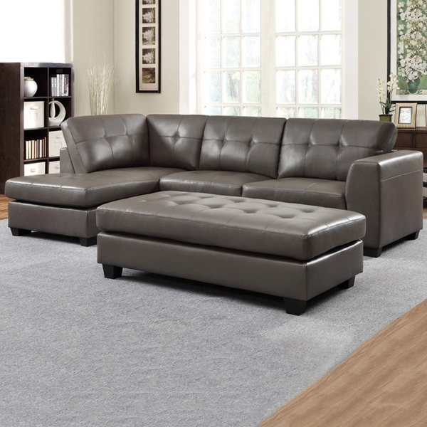 Sectional Chaises Regarding Fashionable Carmine Grey Bonded Leather Sectional With Chaise And Optional (View 7 of 15)