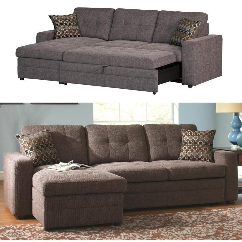 Sectional Sleeper Sofas With Chaise Pertaining To Most Popular Coaster Gus Charcoal Chenille Upholstery Small Sectional Storage (View 11 of 15)