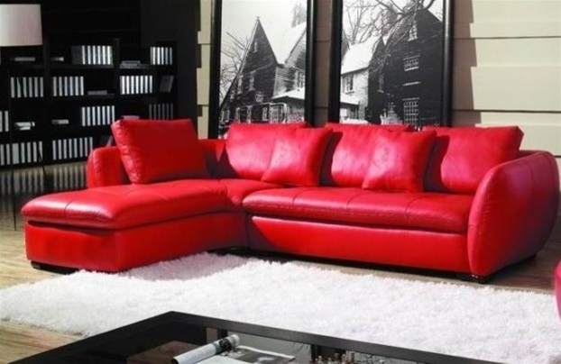 Sectional Sofa Design: Good Looking Red Leather Sectional Sofa Red Within Recent Red Leather Sectionals With Chaise (View 10 of 10)