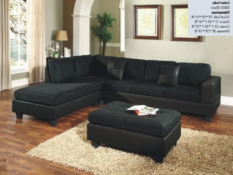 Sectional Sofa Design: Wonderful Black Microfiber Sectional Sofa Intended For Most Popular Black Sectional Sofas (View 6 of 10)