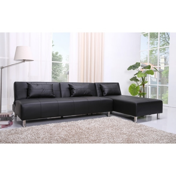 Sectional Sofas At Atlanta Pertaining To Popular Atlanta Black Faux Leather Convertible Sectional Sofa Bed – Free (View 3 of 10)