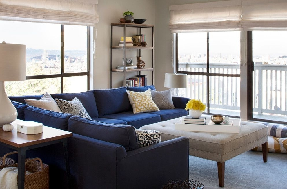 Sectional Sofas Decorating Throughout 2018 Glorious Contemporary Blue Velvet Sectional Sofa Decorating Ideas (View 7 of 10)