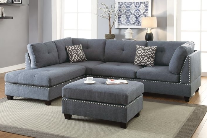 Sectional Sofas With Ottoman Inside Current Poundex F6975 Blue Grey Fabic 3Pc Reversible Chaise Sectional Sofa (View 7 of 10)