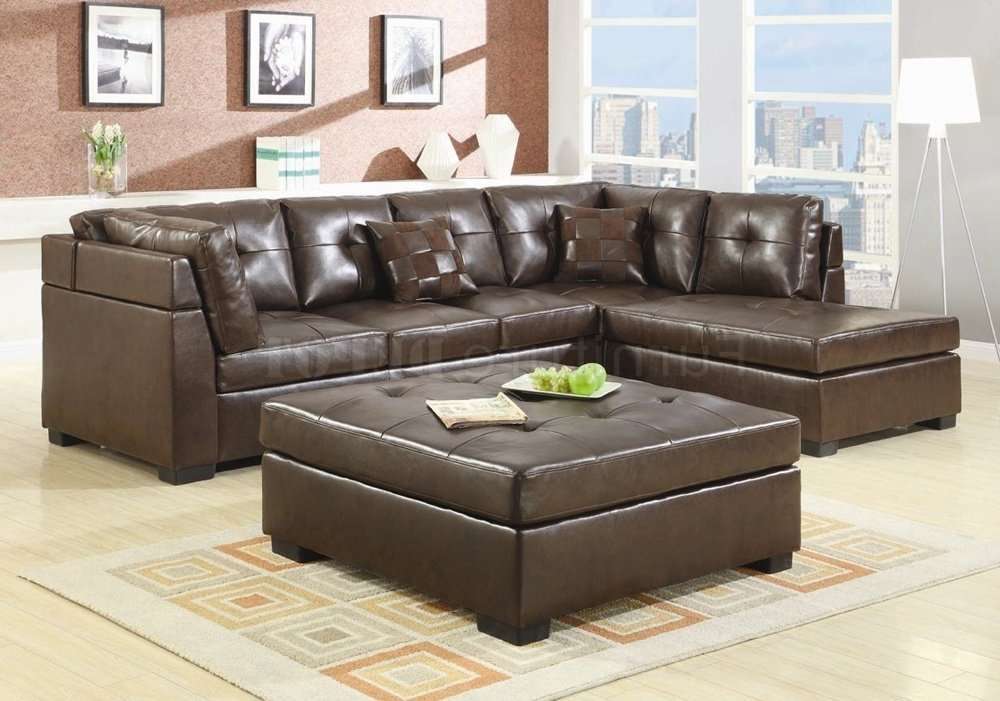 Sectional Sofas With Ottoman Intended For Well Liked Brilliant Brown Leather Sectional Sofas And Optional Ottoman (View 8 of 10)