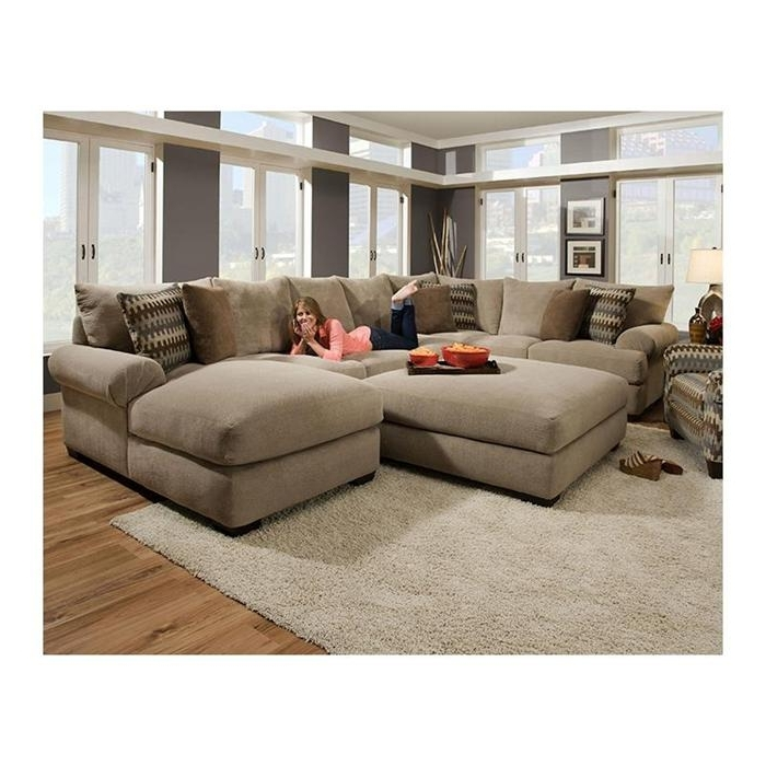 Sectional Sofas With Ottoman With Regard To Recent 3 Piece Sectional Sofa And Ottoman In Bacarat Taupe (View 8 of 10)