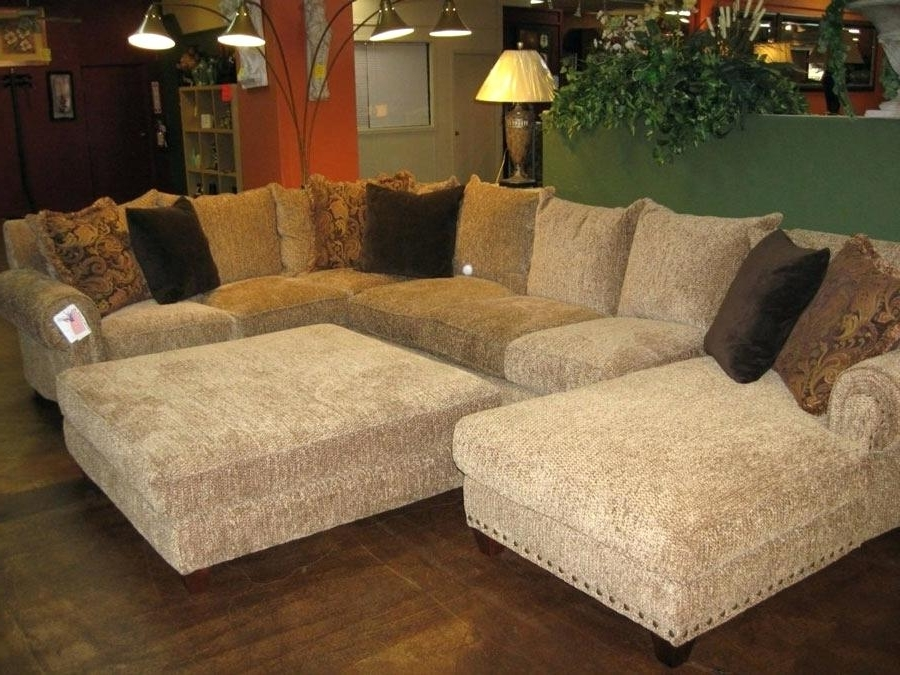 Sectional Sofas With Oversized Ottoman Pertaining To 2018 Fantastic Oversized Loveseat With Ottoman Chic Microfiber Large (View 3 of 10)