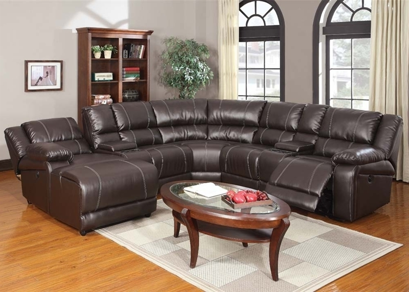 Sectionals With Chaise And Recliner In Most Recently Released Espresso Leather 7 Piece Power Reclining Sectionalacme –  (View 7 of 15)