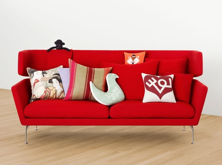Selecting The Dressage Cushions For Sofa Or Chairs Regarding Latest Red Sofa Chairs (View 7 of 10)