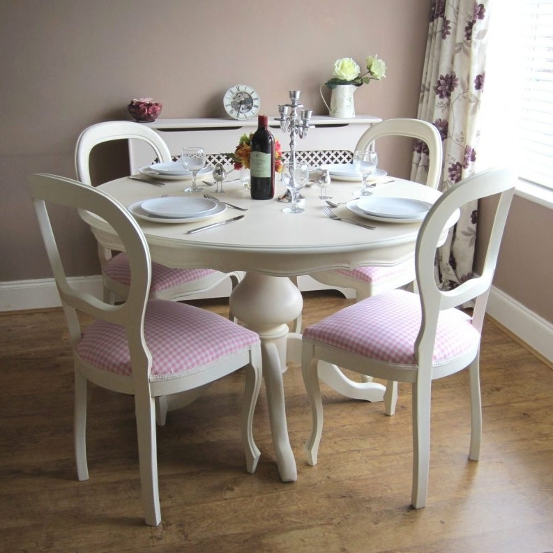 Shabby Chic Round Dining Table Brown Dresser Grey Marble Table Intended For Most Popular Sofa Chairs With Dining Table (View 3 of 10)