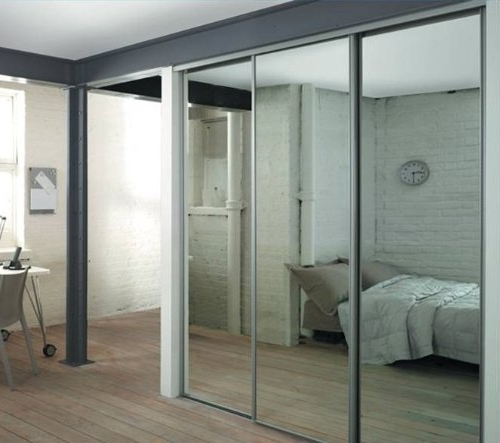 Silver Mirror Sliding Door Triple Pack With Interior Storage (View 7 of 15)