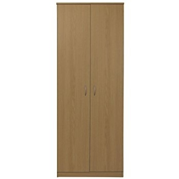 Silver Wardrobes For Trendy Devoted2Home Wardrobe Oak 2 Door And Silver Effect Handle, Wood (View 9 of 15)