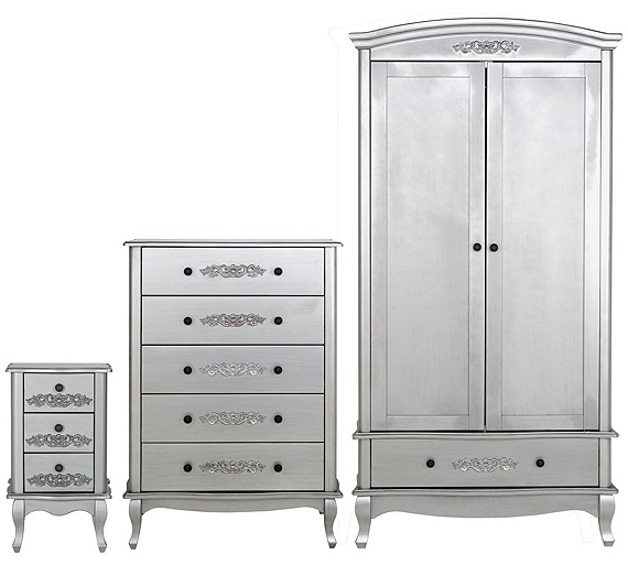 Silver Wardrobes Regarding Most Recent Buy Collection Sophia 3 Piece 2 Door Wardrobe Package – Silver At (View 13 of 15)