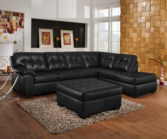 Simmons Chaise Sofas Intended For Most Popular Soho Contemporary Onyx Leather Sectional Sofa W/ Left Chaise (View 6 of 10)