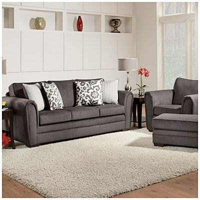 Simmons Flannel Charcoal Sofa With Pillows At Big Lots Love The Inside Newest Big Lots Sofas (View 9 of 10)