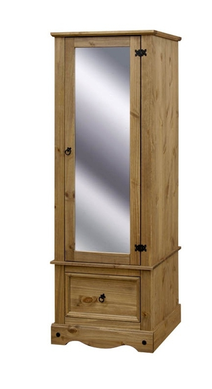 Single Door Mirrored Wardrobes In Well Liked Corona Single One Mirrored Door 1 Drawer Armoire Wardrobe (View 5 of 15)