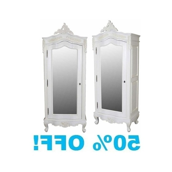 Single French Wardrobes Pertaining To Trendy White Painted Small 1 Door Mirrored Armoire (View 11 of 15)
