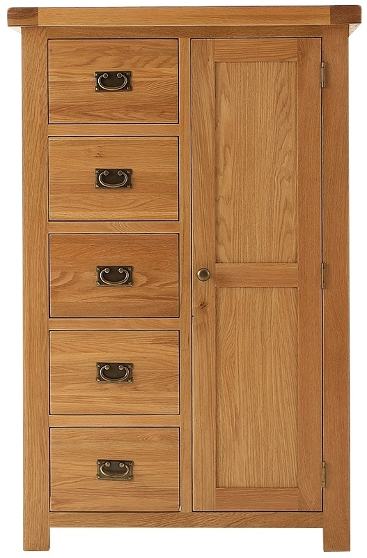 Single Oak Wardrobes With Drawers For Popular Oldbury Half Door Half Drawer Low Height Rustic Oak Wardrobe (View 10 of 15)