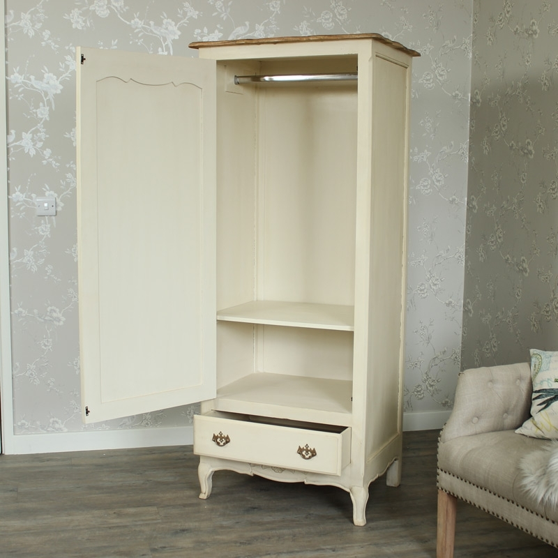 Single Wardrobes Regarding Most Popular Cream Single Wardrobe – Normandy Range – Melody Maison® (View 10 of 15)