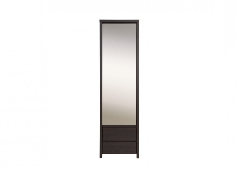 Single Wardrobes With Mirror For Most Recently Released Single Mirror Door Slim Compact Wardrobe In Wenge Brown Finish (View 7 of 15)
