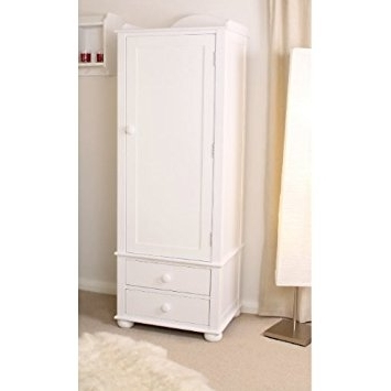 Single White Wardrobes With Drawers Intended For Best And Newest Nutkin Ash White Painted Childrens Single Wardrobe With 2 Drawers (View 12 of 15)