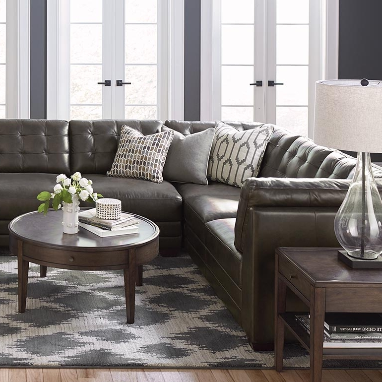 Slate Grey Leather U Shaped Sectional Regarding Most Recently Released U Shaped Sectionals (View 10 of 10)