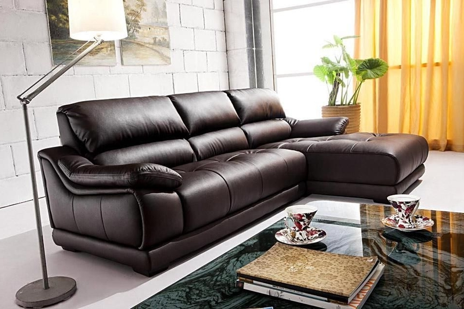 Sleek Sectional Sofas In Widely Used Luxury And Sleek Sectional Sofa In Espresso Leather Puerto Rico (View 6 of 10)
