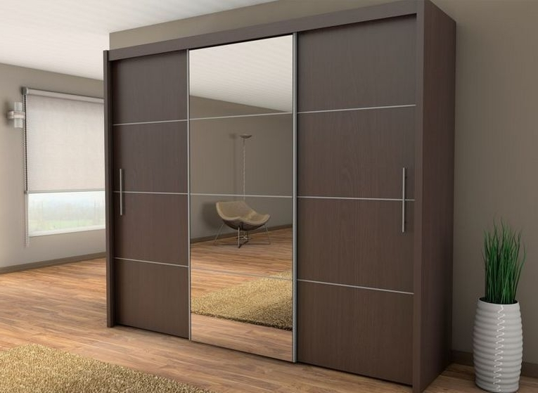 Sliding Three Door Wardrobe With Center Glass Id565 – Three Door Within Popular Dark Wood Wardrobes With Sliding Doors (View 11 of 15)