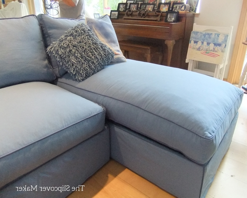 Slipcovered Sofas With Chaise Throughout Latest Outstanding Blue Canvas Slipcover For Big Sectional Sofa The Maker (View 12 of 15)