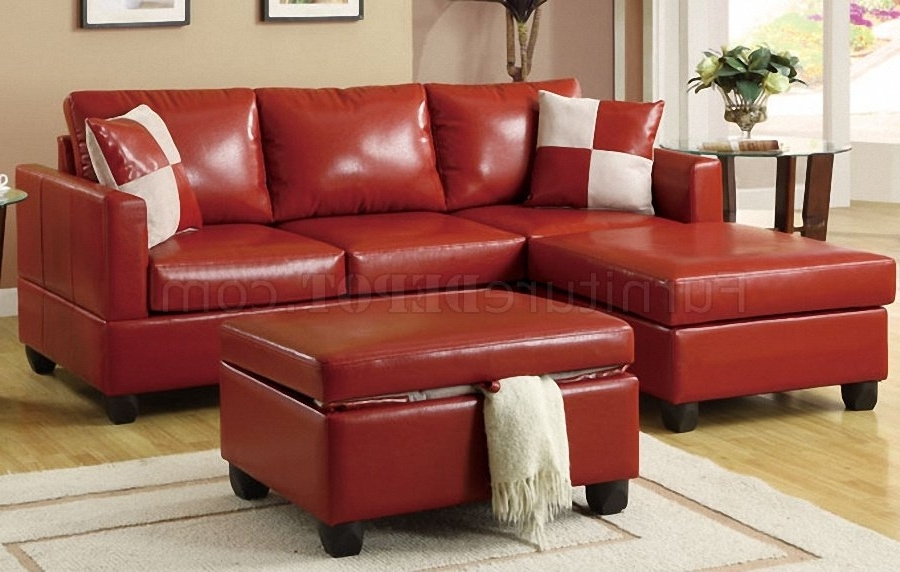 Featured Photo of Small Red Leather Sectional Sofas