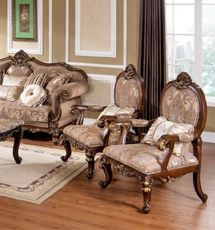 Sofa And Accent Chair Sets In Current Wonderful Accent Chair Set Of 2 With Best Furniture Mc1428 Gold (View 4 of 10)