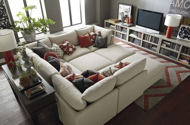 Sofa Beds Design: Astonishing Contemporary Sectional Sofa With Pertaining To Well Liked Sectional Sofas With Oversized Ottoman (View 7 of 10)