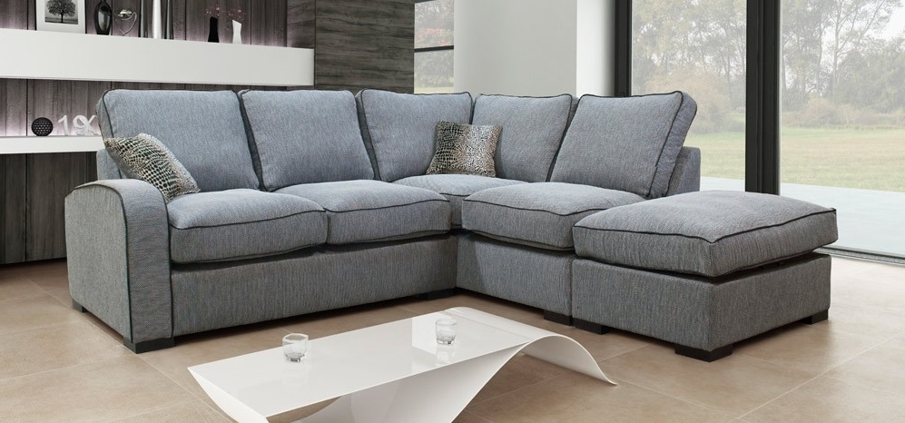 Sofa : Cool Fabric Corner Sofa Left Hand Set Charcoal Grey Hula Within Trendy Fabric Corner Sofas (View 10 of 10)