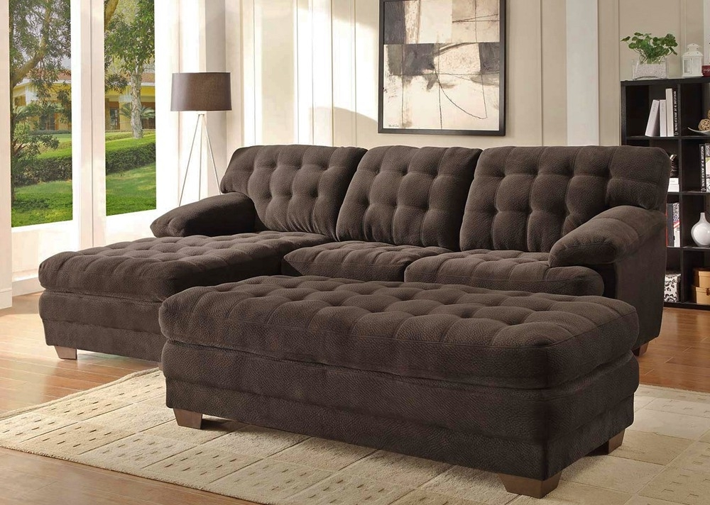 Sofas With Ottoman For Most Current Chocolate Microfiber Sectional Sofa Throughout Sofa With Ottoman (View 8 of 10)