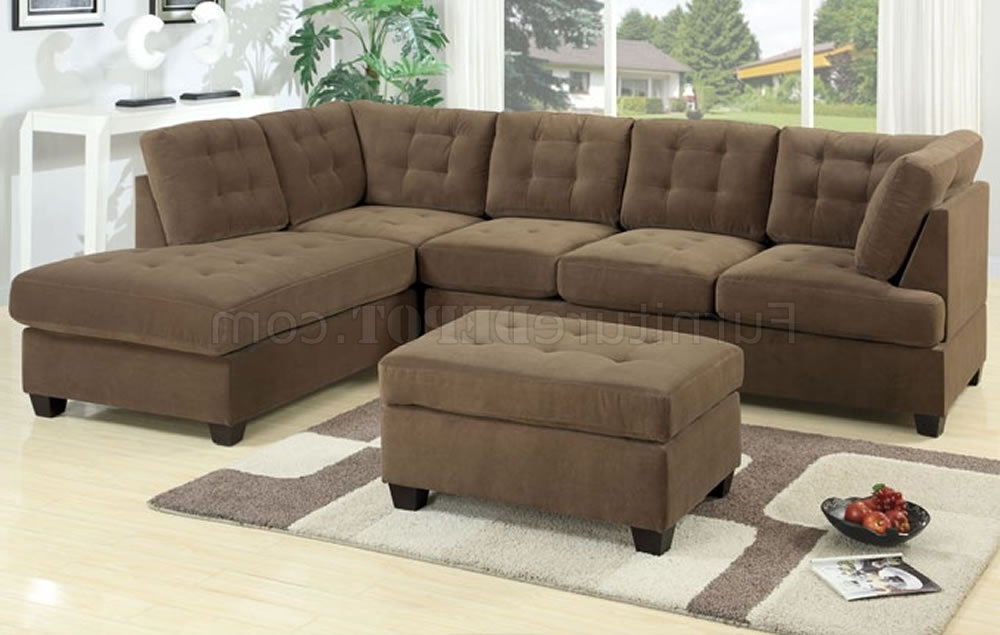 Sofas With Reversible Chaise For Favorite F7140 Reversible Tufted Sectional Sofa In Truffle Suedepoundex (View 11 of 15)