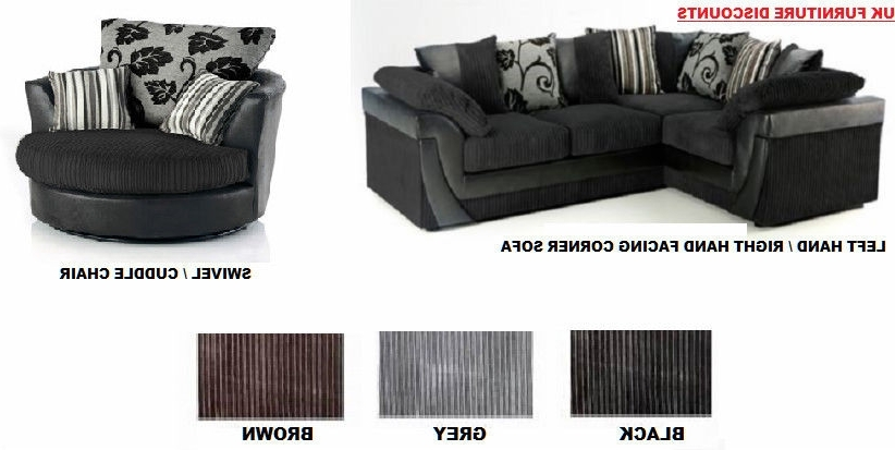 Sofas With Swivel Chair With Well Liked Brand New Lucy Lush Corner Sofa Suite/ Cuddle Swivel Chair Black (View 8 of 10)
