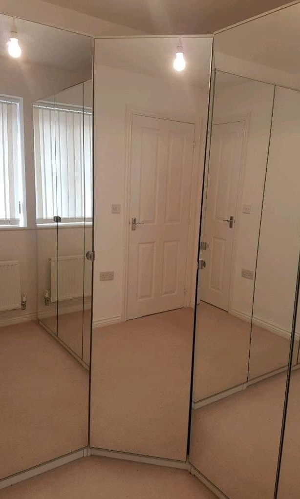 Sold** Ikea Pax Wardrobe 73Cm Wide Corner White Frame With Mirror With 2017 Mirrored Corner Wardrobes (View 8 of 15)