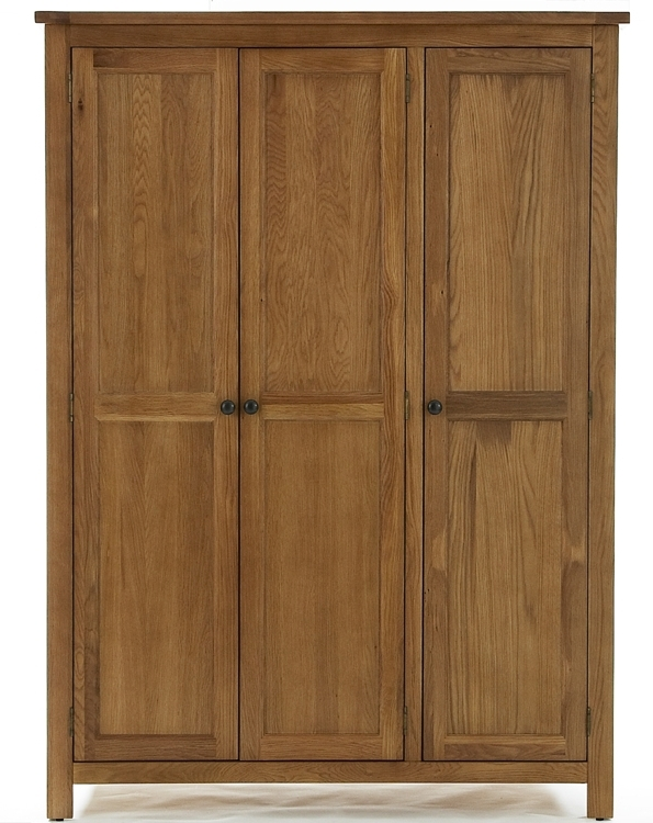 Solid Hardwood Bedroom Furniture Within Oak 3 Door Wardrobes (View 13 of 15)
