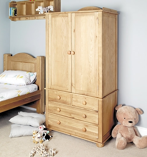 Solid Oak Double Wardrobe – Amelie Regarding Double Rail Childrens Wardrobes (View 11 of 15)