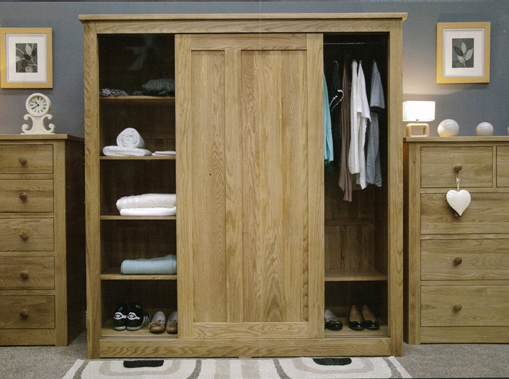 Solid Oak Wardrobe With Sliding Doors (View 9 of 15)